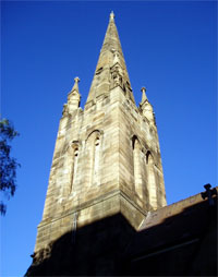 The bell tower of St Benedict's.